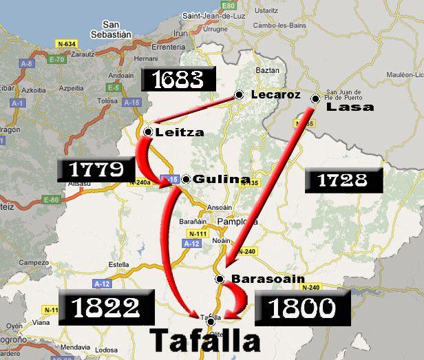 EL CAMINO HACIA TAFALLA. 1800 expresa la fecha aproximada del afincamiento de los MARTINENA en Tafalla, que debió producirse entre 1780 y 1801. Elaboración propia a partir de GoogleMaps